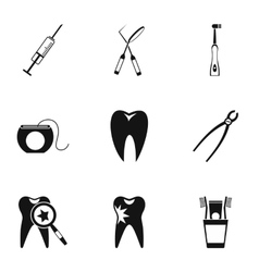 Dental treatment icons set simple style vector