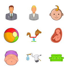 Family connection icons set cartoon style vector