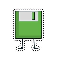 Floppy disk kawaii character vector