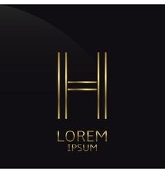 Golden h letter vector