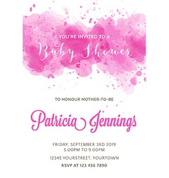 Gorgeous watercolor baby shower invitation vector