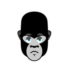 Gorilla sad emoji monkey dull emotion isolated vector
