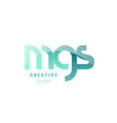 Green gradient pastel modern mgs m g s alphabet vector