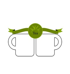 Green tea cup and mint isolated on white vector