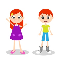 happy young boy and girl with freckles vector image vector image