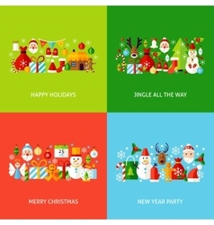 Merry Christmas Greeting Set vector image