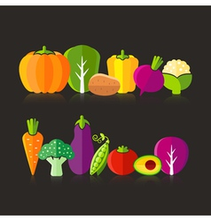 Organic farm vegetables on black background vector