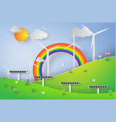 Paper art of green wind turbine solar energy vector