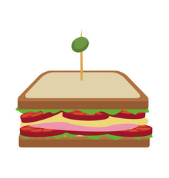 Sandwich tomato cheese traditional ham and olive vector