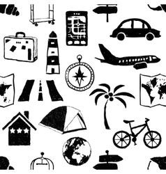Seamless doodle travel pattern vector