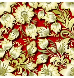 Seamless golden floral ornament on red background vector