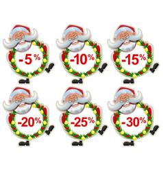 Set discount label santa claus christmas wreath of vector