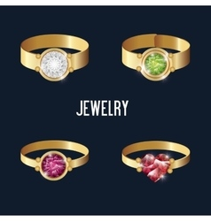 Set icons rings gold gems isolated vector