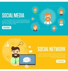 Social media network website templates vector image vector image