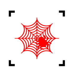 Spider on web red icon inside vector
