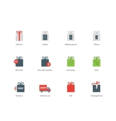 Technology presents color icons on white vector image vector image
