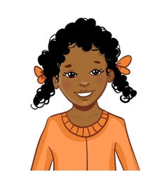 Teenager African American girl with curly hair vector image vector image