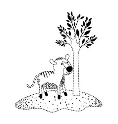 Tiger cartoon next to the tree in black dotted vector