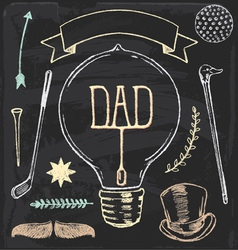 Vintage Hand Drawn Chalk Fathers Day Set vector image vector image