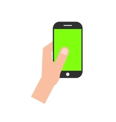 left hand holding smartphone with green screen vector image