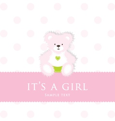 Baby girl teddy card vector