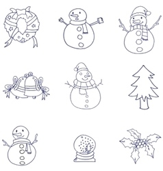 Doodle of christmas hand draw flat vector image