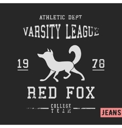 Fox vintage stamp vector image