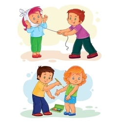 Set icons little children sick vector