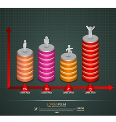 3d graph with business man action icons vector