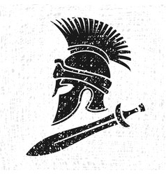 Ancient military helmet and sword vector