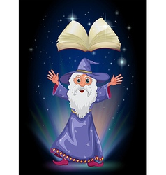 An old wizard below the floating empty book vector