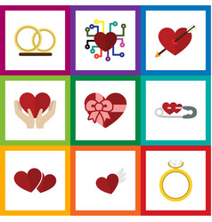 Flat icon passion set of ring save love wings vector