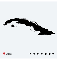 High detailed map of cuba with navigation pins vector