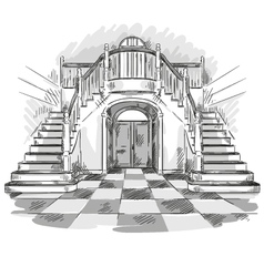 Spacious hall and staircase drawing vector