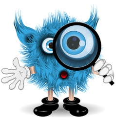 Monster with a magnifying glass vector