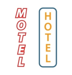 Neon sign with the word hotel motel signboard vector