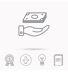 Save money icon hand with cash sign vector