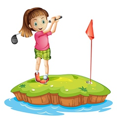 A cute little girl golfing vector image vector image
