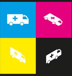Ambulance sign white icon vector