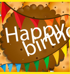 Birthday card with cookies and flags vector