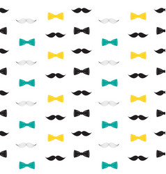 Bow tie and mustache seamless pattern father s vector