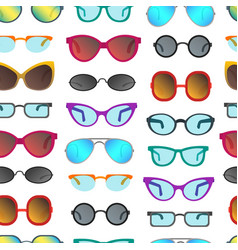 cartoon glasses and sunglasses seamless pattern vector image vector image
