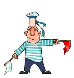 Cartoon man in a marine uniform waving flags vector