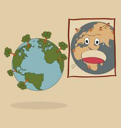 concept of world map earth globe vector image vector image