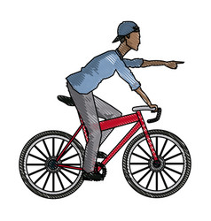 Drawing young afro guy rider bicycle pointing hand vector