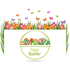 Easter egg spring with grass and butterfly vector