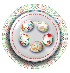 Easter plate with easter eggs vector