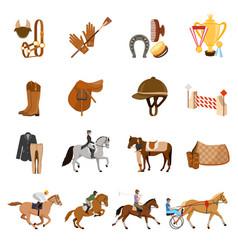 Equestrian sport flat icons set vector