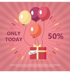Gift box with text big sale flying on balloon vector
