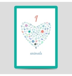 Heart from animal footprints card vector image
